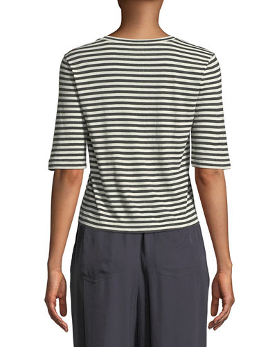 Midi Striped Silk/Viscose Cropped Tee