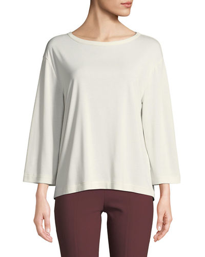 Tie-Back 3/4-Sleeve Crewneck Top