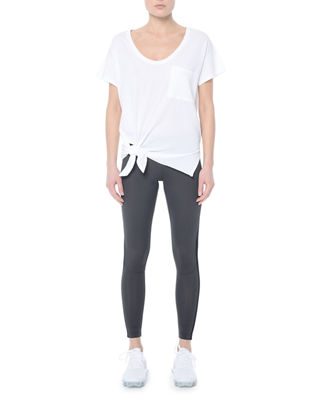 NYLORA FLORES KNOTTED SHORT-SLEEVE TOP