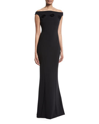 Sissel Off-the-Shoulder 3D Rosette Gown