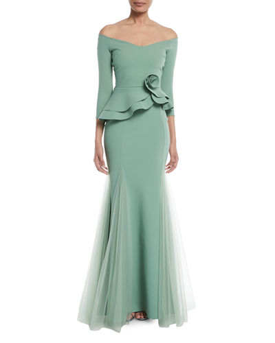 Reo Lady Peplum Godet Mermaid Gown