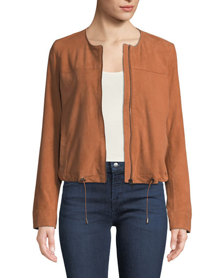 Neiman Marcus Leather Collection Suede Collarless Zip-Front Jacket