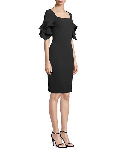 Square-Neck Trumpet-Sleeve Sheath Dress