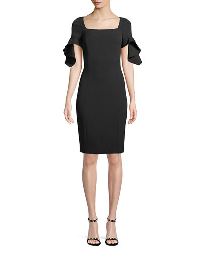Badgley Mischka Collection Square-Neck Trumpet-Sleeve Sheath Dress
