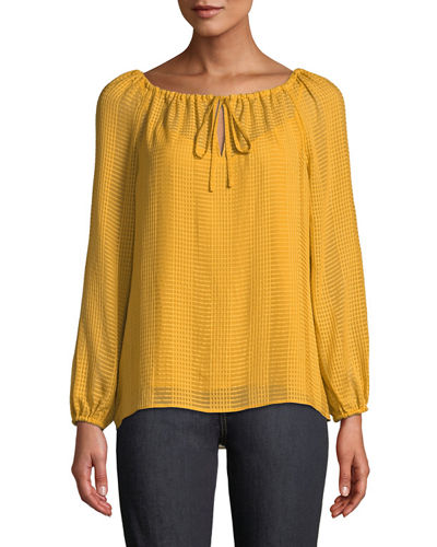 Natalie Grid-Textured Georgette Top
