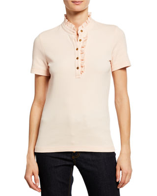 Emily Ruffled Pique Polo Shirt, Ballet Pink