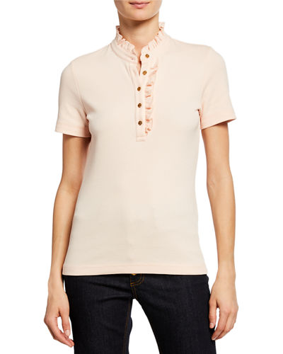 Emily Ruffled Pique Polo Shirt