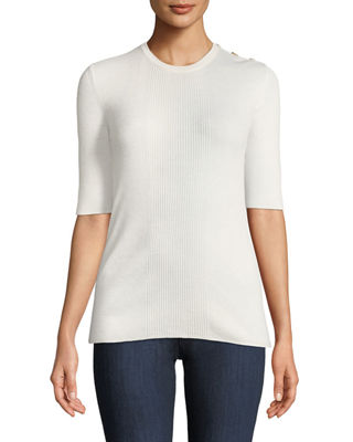 Taylor Lightweight Rib-Knit Cashmere Sweater in New Ivory