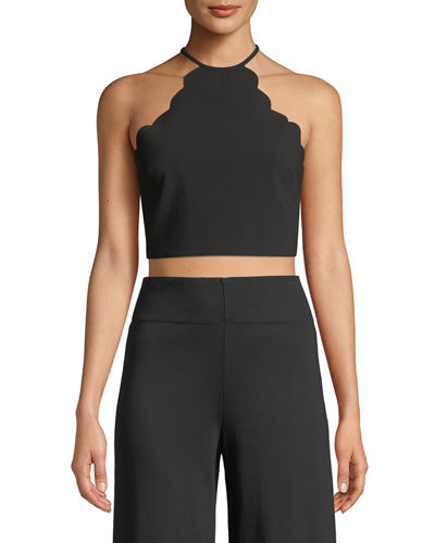 Reeves Scalloped Halter-Neck Crop Top