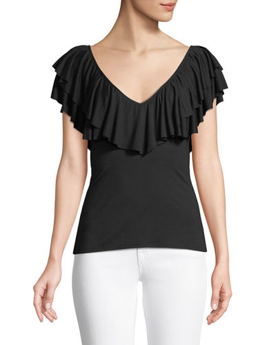 Amber V-Neck Ruffle Top, Plus Size