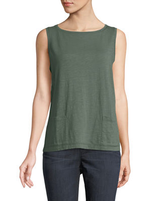Eileen Fisher Slubby Organic Cotton Jersey Boat-Neck Tank