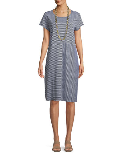 Short-Sleeve Striped Organic Linen Jersey Dress, Plus Size