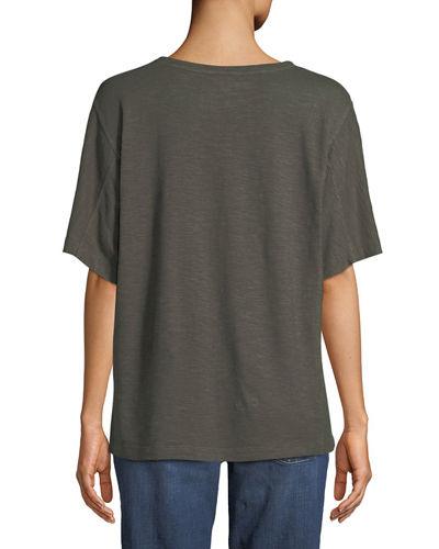 Short-Sleeve Hemp-Cotton Twist Top