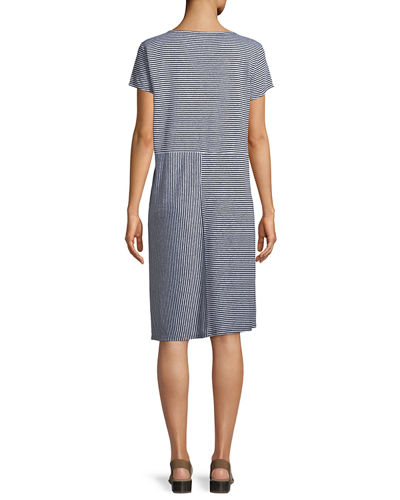 Short-Sleeve Striped Organic Linen Jersey Dress, Petite
