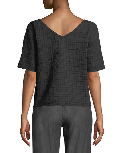 Grid-Textured Organic Cotton Voile Top