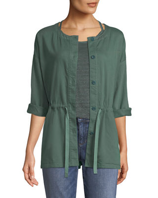 Eileen Fisher Round-Neck Organic Cotton Twill Shirttail Jacket
