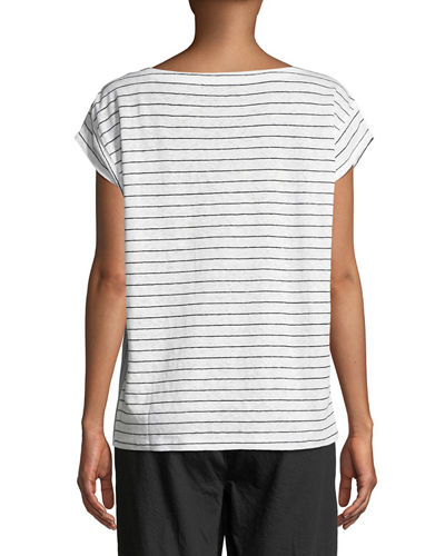 Short-Sleeve Thin-Striped Linen Jersey Top, Plus Size