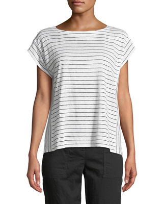 Eileen Fisher Short-Sleeve Thin-Striped Linen Jersey Top