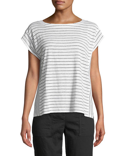 Short-Sleeve Thin-Striped Linen Jersey Top