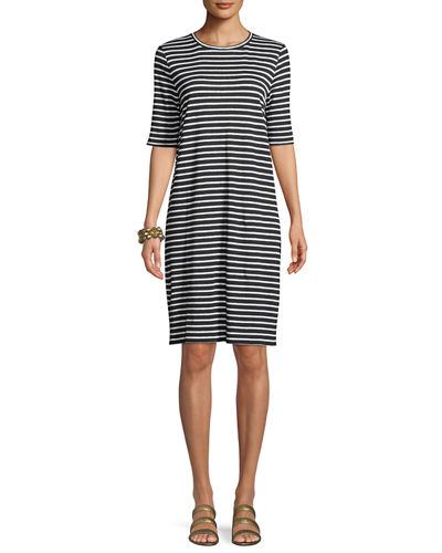 Seaside Striped Half-Sleeve Organic Linen Dress, Plus Size