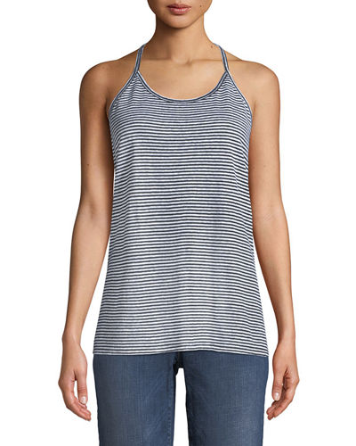 Striped Organic Linen Jersey Strappy Tank