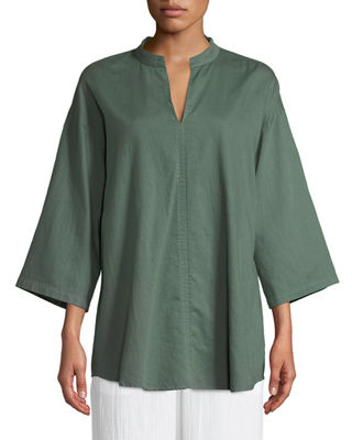 Eileen Fisher 3/4-Sleeve Soft Organic Cotton Twill Shirt