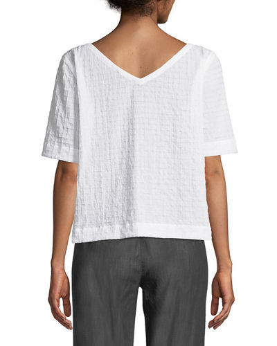 Grid-Textured Organic Cotton Voile Top, Plus Size