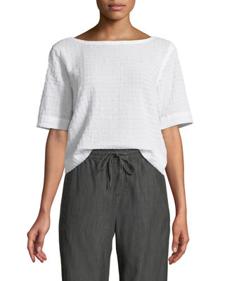 Eileen Fisher Grid-Textured Organic Cotton Voile Top, Plus