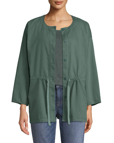 Round-Neck Organic Cotton Twill Shirttail Jacket, Plus Size