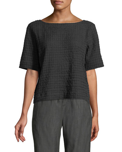 Grid-Textured Organic Cotton Voile Top, Petite