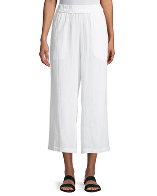 Eileen Fisher Organic Cotton Gauze Straight-Leg Pants