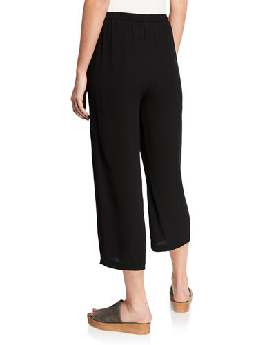 Cropped Silk Georgette Straight-Leg Pants, Petite