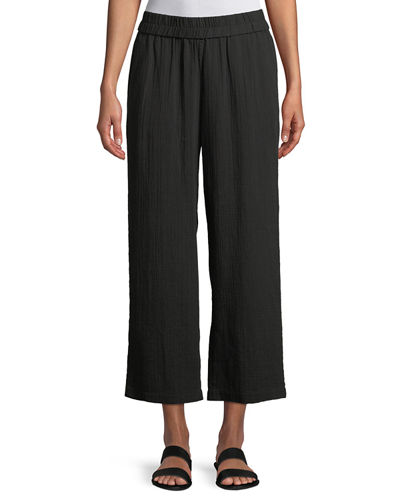 Organic Cotton Gauze Straight-Leg Pants, Plus Size