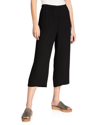 Eileen Fisher Cropped Silk Georgette Straight-Leg Pants, Plus