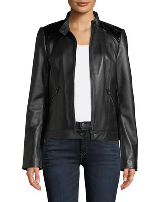 Neiman Marcus Leather Collection Patent Leather-Trim Leather