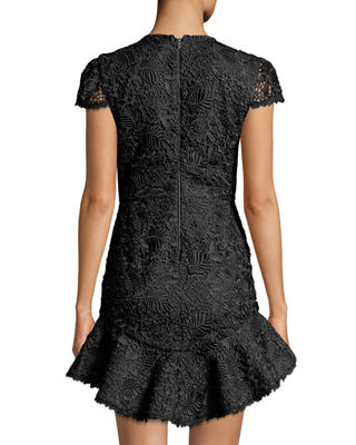 Image 2 of 3: Rapunzel Curved-Hem Lace Fit-and-Flare Dress