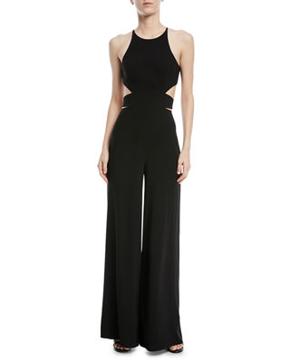Image 1 of 4: Wide-Leg Side-Cutout Jumpsuit