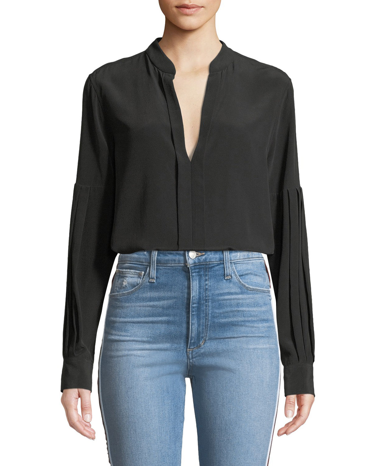 Estella Long-Sleeve Silk V-Neck Blouse