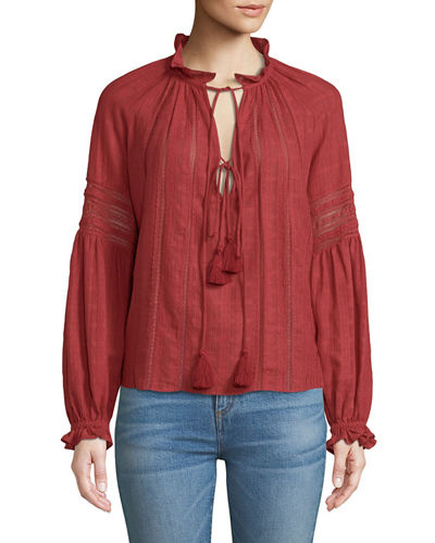 Kalina Long-Sleeve Peasant Top