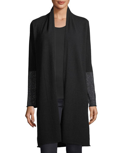 Cashmere-Blend Metallic-Cuff Duster Cardigan