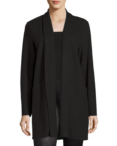 Boiled Wool Jersey Long Jacket, Petite