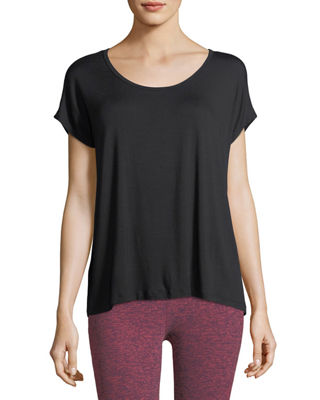 Image 1 of 2: Back Out Strappy Short-Sleeve Tee