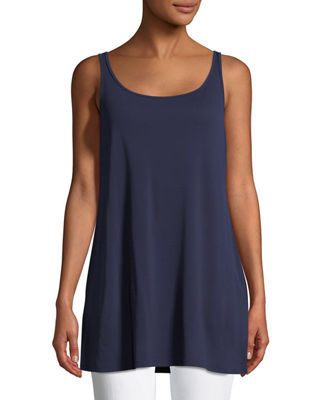 Sleeveless Long Silk Jersey Tank