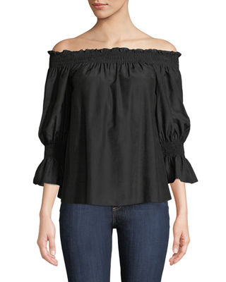 Image 1 of 2: Smocked Silk/Cotton Off-the-Shoulder Top