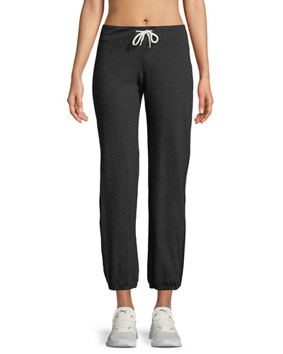 Heathered Drawstring Side-Stripe Sweatpants