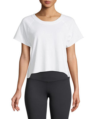 Monrow Raw-Edge Scoop-Neck Side-Stripe Sweatshirt Top