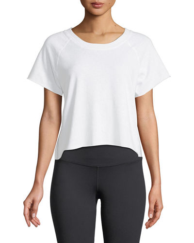 Raw-Edge Scoop-Neck Side-Stripe Sweatshirt Top