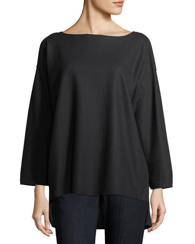 Bateau-Neck Boiled Wool Jersey Top, Plus Size