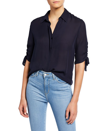 Isa Shirred-Sleeve Collared Button-Up Blouse