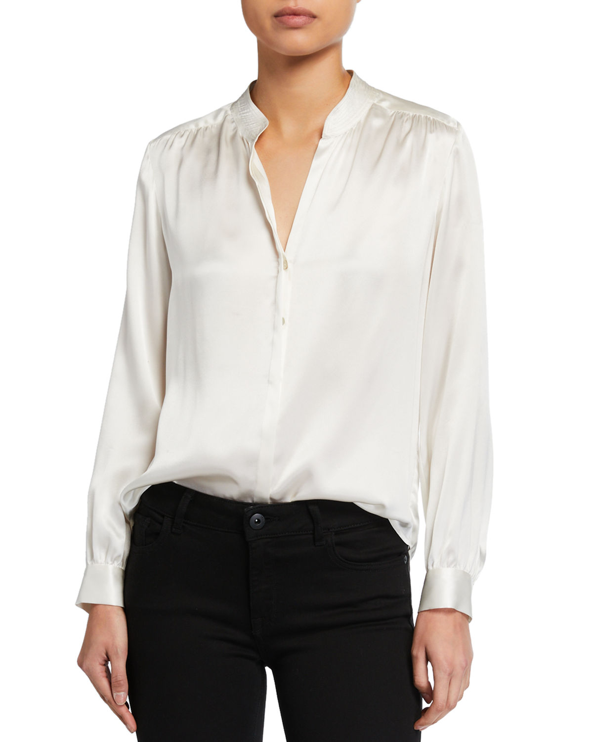 L Agence Silks BIANCA SILK CHARMEUSE BUTTON-DOWN BLOUSE